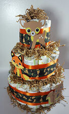 3 Tier Diaper Cake Woodland Theme Orange/Camo - Neutral Baby Shower Centerpiece