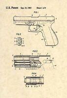 Official Glock US Patent Art Print - Original Pistol Handgun Vintage Gun - 243