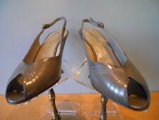 Nos Vintage 1950s Bruno Magli Gray Sandals Pumps Shoes OpenToe Ankle Straps 7.5