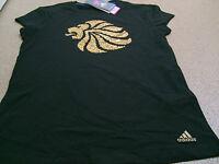 Official adidas LONDON 2012 Team GB Lion Head Women's Black T-Shirt, Size: 12