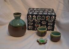 Kotobuki Japan Vintage Sake Server Decanter and 2 Shot Glasses Brown Green