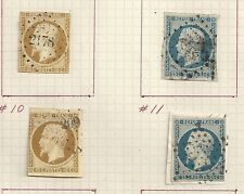 France stamps 1852 YV 9-10(2x)  CANC  F/VF Cat Value $1950