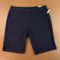 Austin Trading Co Juniors Size 17/18 Navy Uniform Stretch Bermuda Shorts NWT