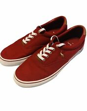 Polo Ralph Lauren Thorton Men's Low Top Canvas Shoes Preppy/ Boat 10.5D Red