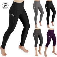 Women Push Up High Waist Capri Leggings With Pockets Fitness Yoga Cropped Pants