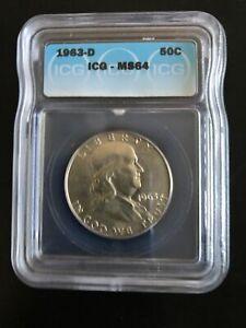 1963 d franklin half dollar MS64 Very Nice Coin