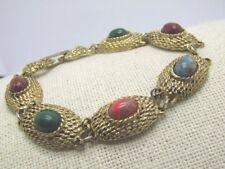 "Vintage Faux Stone Bracelet, Gold Tone, 7"" and 12.5"" long, 1970's"