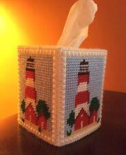 Lighthouse tissue box cover, boutique size, handmade, needlepoint
