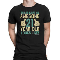 Mens 21st BIRTHDAY T-Shirt AWESOME 21 Years Old Joke Funny Gift Twenty One