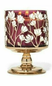 MAGNOLIAS PEDESTAL 3 wick candle holder sleeve Bath & Body Works White Barn GOLD