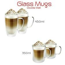 Latte Tea Coffee Double Wall Heat-resistant Clear Glass Mug Cup 350ml 450ml