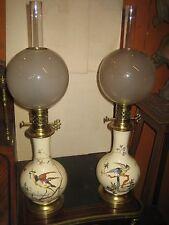 PAIRE DE LAMPES A HUILE FAIENCE KELLER GUERIN LUNEVILLE XIX°