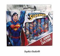 12 Pcs SUPERMAN Kids JUMBO CRAYON SET School Colouring Birthday Crayons Toy Gift