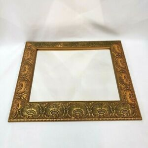 Rococo Sea Shell Mirror Gold Wooden Ornate Gilt Rectangle Wood Large Old Rare