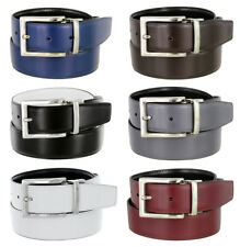 Men's Belt Genuine Leather Reversible Belt Rotated Buckle 1-3/8
