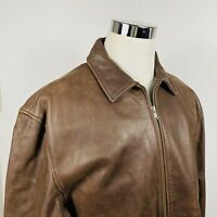 Territory Ahead Mens Large Flannel Lined Leather Jacket Bomber Brown Full Zip