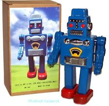 "Smoking Spaceman Robot Tin Toy Windup Blue 9.5"" tall"