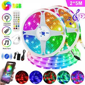 10m Bluetooth LED Strip Tape Lights Music Sync 5050 RGB APP Remote White UK Plug