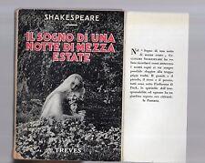 shakespeare - il sogno di una notte di mezza esate - treves editore 1936