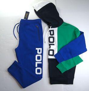 POLO RALPH LAUREN Men's Blue Multi Colorblock Mesh Hoodie & Jogger Pants NWT