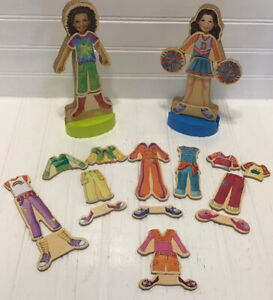 """Shure Products Magnetic Wooden Doll Set of 2 With Clothes Shoes Stands 8.5"""" Tall"""