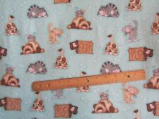 2 Yards Blue with Multicolored Cat/Kittens Flannel Fabric