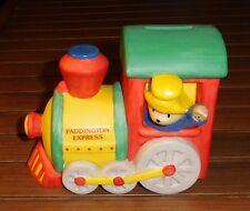 Older Ceramic Piggy Bank - Paddington Bear on Train Engine Express - 1991 Enesco