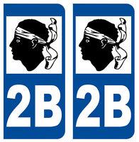 2B CORSE NORD DEPARTEMENT IMMATRICULATION 2 X AUTOCOLLANTS STICKER AUTOS
