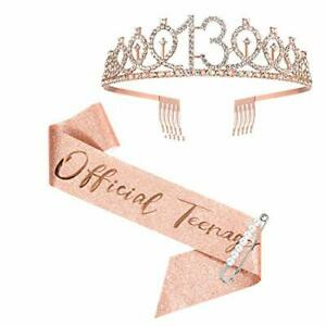 13th Birthday Sash and Crown for Girls, Rose Gold Official Teenager Sash
