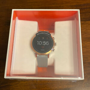 Fossil Gen 4 Venture HR Smartwatch 40mm Stainless Steel Gray Silicone Band NEW
