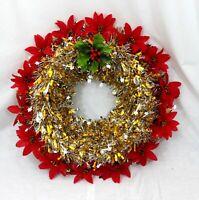 LARGE 50 cm CHRISTMAS WREATH POINSETTIA's GOLD & SILVER + HOLLY