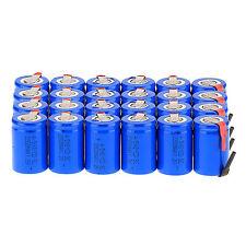 24 Pcs NiCd 4/5 SubC 1.2V 2200mAh Rechargeable Battery & Tab Blue