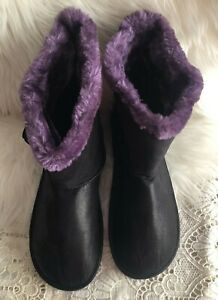 Unbranded High Top Slippers House Shoes Women's 11/12 Purple Fur Lined