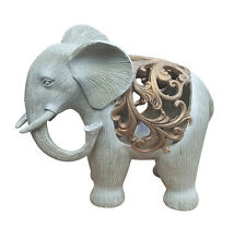 Dekofigur Elefant beleuchtet mit LED-Teelicht Afrika Skulptur Elefantenfigur NEU