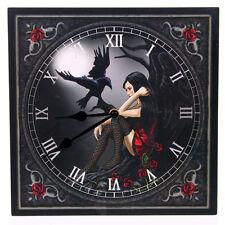 Bilderuhr Dunkler Engel mit Raabe Gothic Wanduhr Uhr Rabe