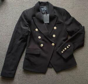 NWT DECJUBA Ladies Black Fitted Carly Military Blazer/Jacket Size 12 $170 NEW
