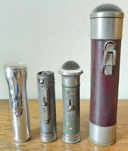 Collection of 4 VINTAGE TORCHES Fisheye Flashlights Ward & Goldstone Ever Ready