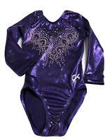 GK Elite Gymnastics Leotard Child X-Small CXS ? Purple Sparkle Long Sleeve