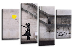 """BANKSY CANVAS WALL ART PICTURE GIRL WITH BALLOON YELLOW GREY 4 PANEL 44""""X 27"""""""