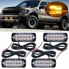 4x Amber 12 LED Car Truck Emergency Beacon Warning Hazard Strobe Flash Light Bar