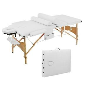 """New 84"""" 3 Pad Massage Table White Folding Facial Spa Bed Tattoo Chair Carry Bag"""