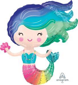 "Cute Animated Mermaid Birthday Jumbo 30"" inch SuperShape Foil Mylar Balloon"
