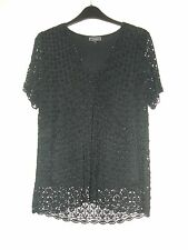 Ladies Black  Evening top Short sleeve. Beaded and fully lined.Size 14. D