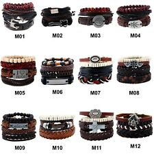 Men Women Fashion Leather Bangle Braided Beaded Cuff Wristband Bracelet 4pc Set