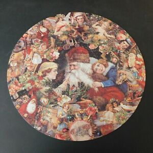 """FX Schmid Dreaming of Christmas 356 Piece 21"""" Round Jigsaw Puzzle 1994 3 Sizes"""
