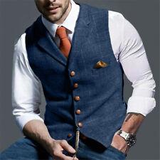 MENS VINTAGE TWEED WAISTCOAT VEST Wool Herringbone Notch Lapel Slim Fit S-XL-3XL