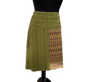 Gudrun Sjoden Skirt Size 12 Green Pink Stripe Pull-on Knee Length Striped Casual
