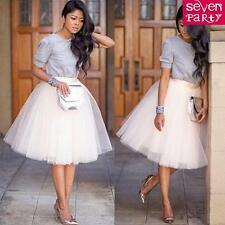 Womens 7 Layer Tulle Skirt Adult Tutu Petticoat Ball Gown Vintage Skater Dress