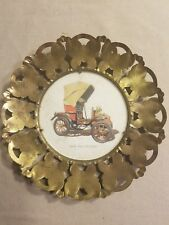 1902 Peugeot Vintage Antique Automobile Picture Inside Brass Butterfly Frame