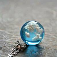 White Clouds Blue Sky Resin Glass Ball Pendant Necklace Terrarium Vouge Hot!